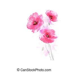 tree flowering pink poppies - The tree flowering pink...