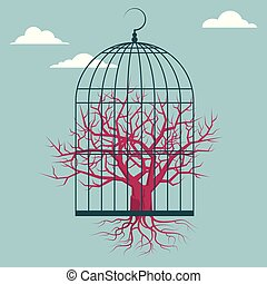 The tree is in a bird cage. Isolated on blue background.