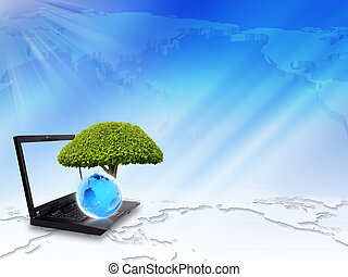 The tree on the laptop
