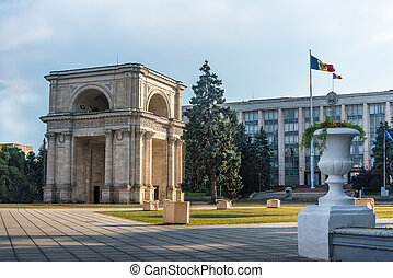The Triumphal Arch. Famous place in Chisinau city, Moldova.