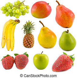 fruits collection - the tropical fruits collection isolated...