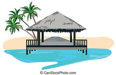 The Tropics - Maldives island resort illustration isolated...