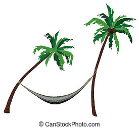 The Tropics - Palm trees with a hammock isolated on white