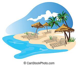 Tropical beach illustration isolated on white background