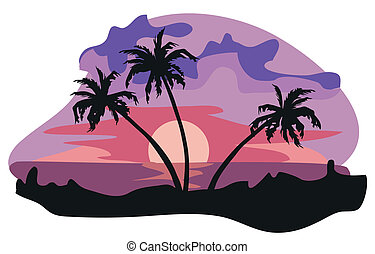 The Tropics - Tropical landscape illustration isolated on...