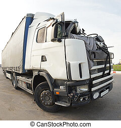 truck after the road accident