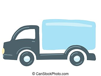 the truck is blue. isolated car. hand drawn cartoon style, vector illustration. transportation of goods by van.