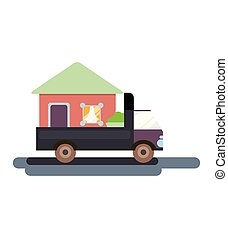 The truck is carrying a house with things