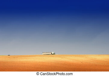 the truck on the hill