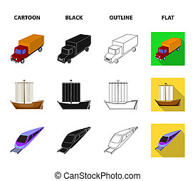 The truck, the boat, the subway, the funicular modes of transport. Transport set collection icons in cartoon, black, outline, flat style bitmap symbol stock illustration web.