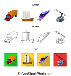 The truck, the boat, the subway, the funicular modes of transport. Transport set collection icons in cartoon, outline, flat style bitmap symbol stock illustration web.