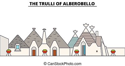 The Trulli Of Alberobello line travel landmark, skyline,...