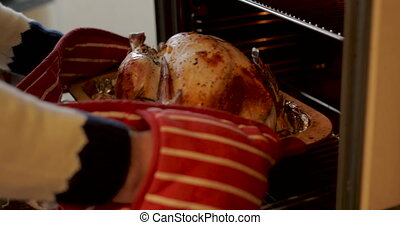 The Turkey Is Ready - Mature man is cooking christmas dinner...