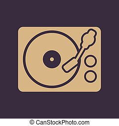 The turntable icon. DJ and melody, music, player symbol. ...