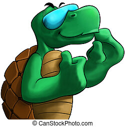 the turtle - happy turtle smiling with a sun glass and his...
