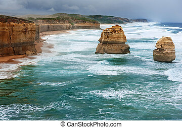 The Twelve Apostles in the storm weather, along the Great...