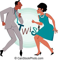 Black couple dressed in the late 1950's early 1960's fashion dancing twist, vector illustration