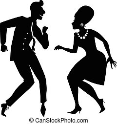 The Twist silhouette - Black vector silhouette of a couple...
