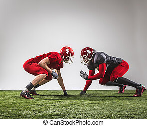 The two american football players in action