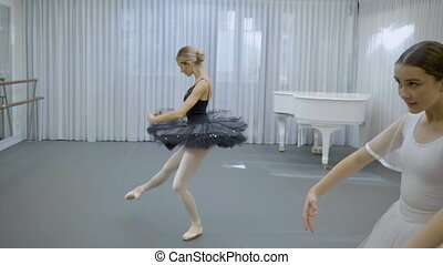 The two ballerinas are exercising the dance for performance...
