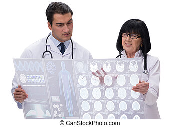 The two doctors looking at x-ray image isolated on white