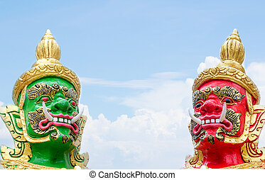 The two Giant Statue on white background