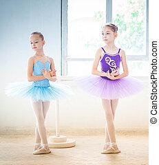 The two little ballet girls in tutu standing against white...