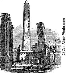 The two medieval Towers of Bologna, Bologna, Italy, vintage engraving. Old engraved illustration of Towers of Bologna, Italy in the 1890s.