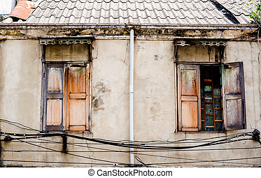 The two old windows in old house