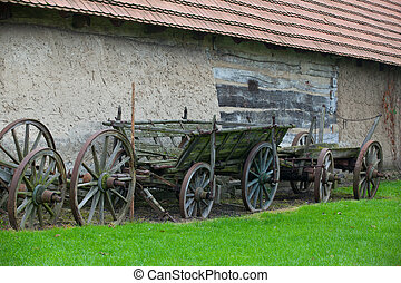The typical historic wooden carriage