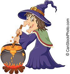 The ugly witch is stirring protion