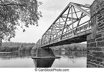 The Uhlerstown-Frenchtown Bridge from Frenchtown, New Jersey...