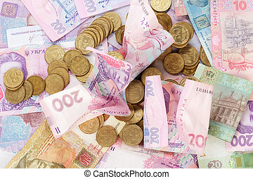 Ukrainian coins on banknotes