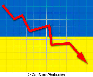 The Ukrainian flag and arrow graph going down