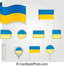 The Ukrainian flag - set of icons and flags