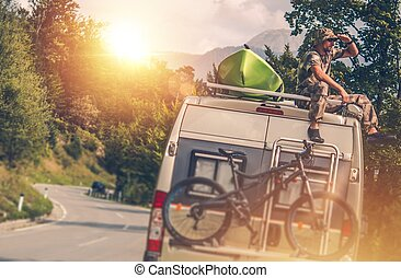 The Ultimate RV Vacation. Camper Van Traveling with Kayak...