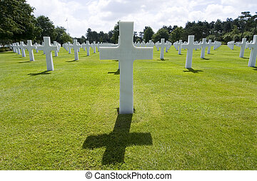 The grave of an unknown World War 2 US soldier who paid the ultimate price amongst many in the cemetery at Omaha Beach in Normandy Northern France