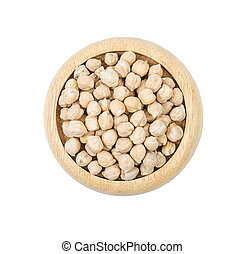 The uncooked chickpeas on white background.