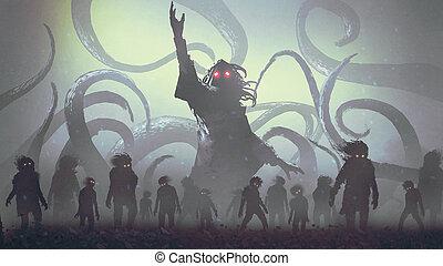 undead sorcerer casting a spell, digital art style, illustration painting
