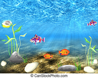 The underwater world - Undersea world with sailling...