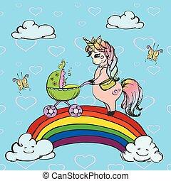 The unicorn lady with pram walking on a rainbow
