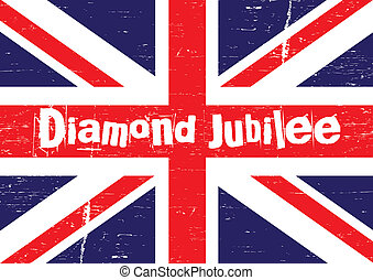 The union jack flag with a grunge effect applied with text set to the middle 'Diamond Jubilee'. Reflective of the punk period in celebration of the forthcoming Diamond Jubilee year in the UK.