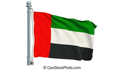 The United Arab Emirates flag waving on white background,...
