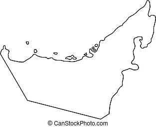 The United Arab Emirates map of black contour curves of vector illustration