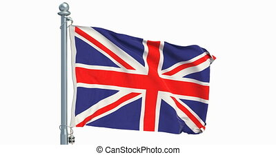 The United Kingdom flag waving on white background, animation. 3D rendering