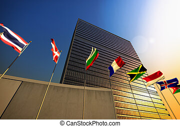 United Nations - The United Nations building at sunset