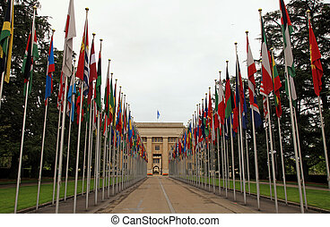 The United Nations, Geneva, Switzerland. - Flags in front of...