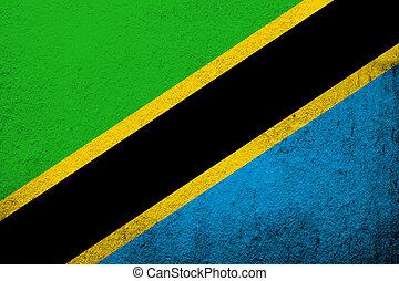 The United Republic of Tanzania National flag. Grunge background