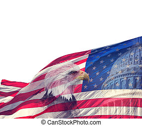 The United States Capitol, American Flag and Bald Eagle