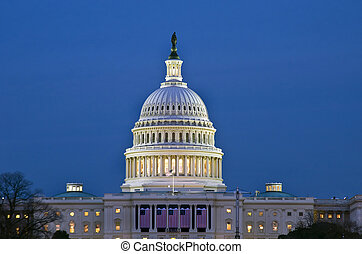 The United States Capitol Building at sunset.